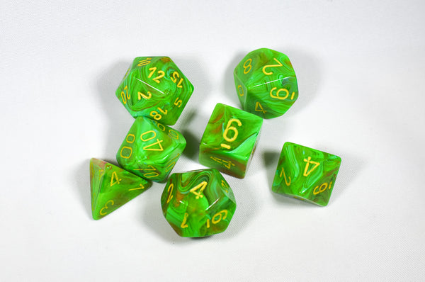 Vortex Slime w/ Yellow Numbers 7-Dice Set CHX 27515