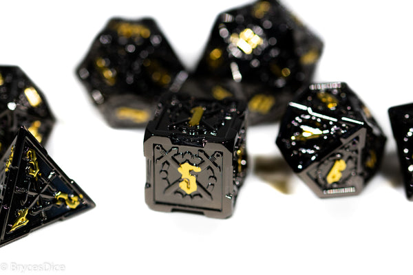 Black w/Gold Numbering Sword Strengthened Metal 7-Dice Set