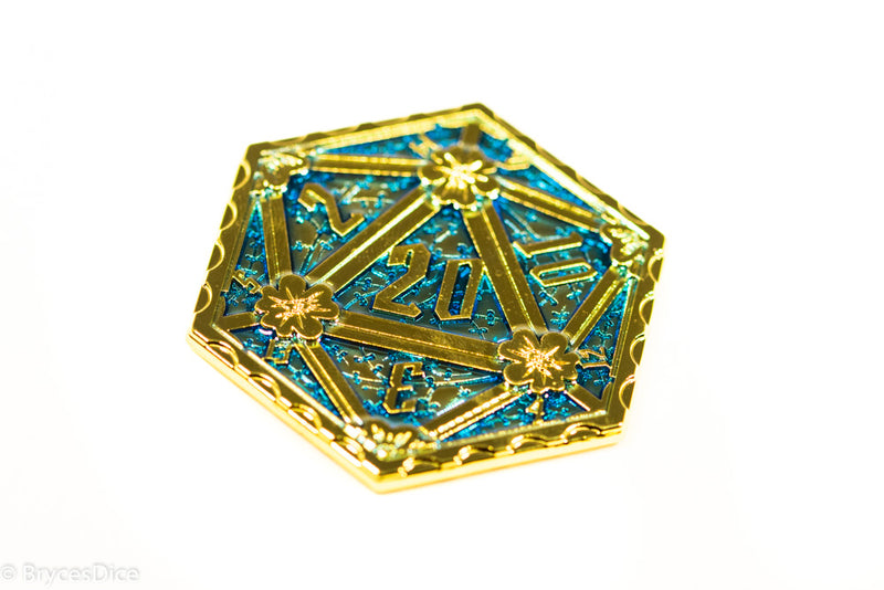 Gold d2 Coin Shaped like d20 Solid w/Blue Enamel Color