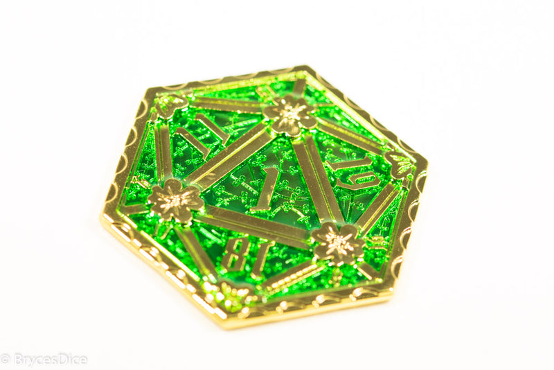 Gold d2 Coin Shaped like d20 Solid w/Green Enamel Color