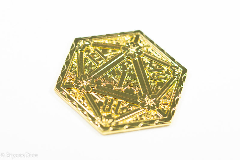 Gold d2 Coin Shaped like d20 Solid Gold Color