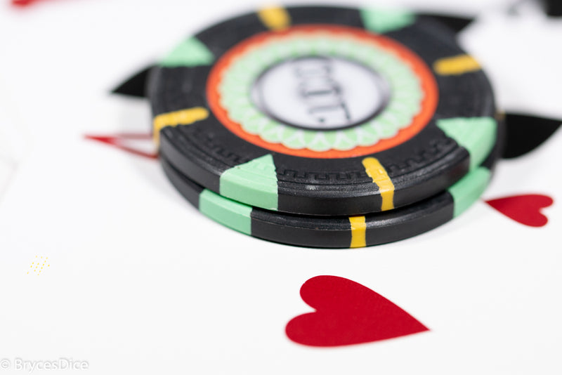 13.5g 'Basic' Poker Chip (100) Black/mint/yellow [sold by the piece]