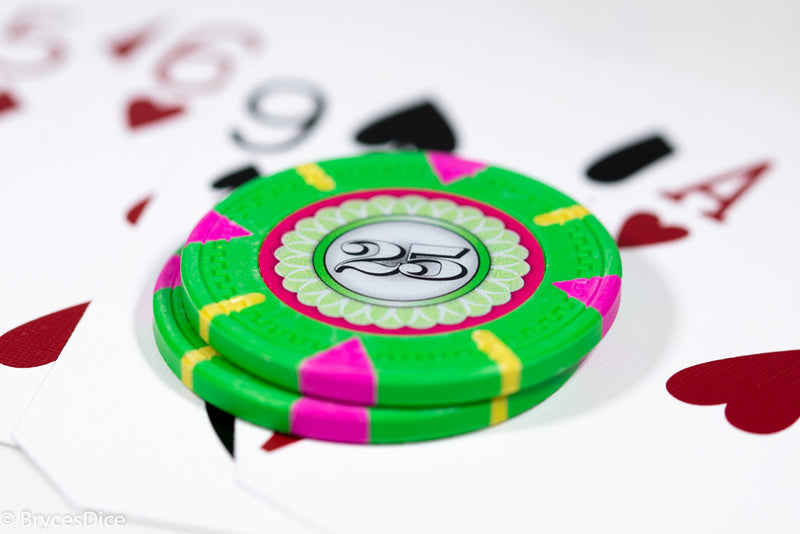 13.5g 'Basic' Poker Chip (25) Green/pink/yellow [sold by the piece]