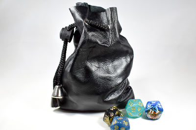 Handmade Leather Dice Bag (Black)