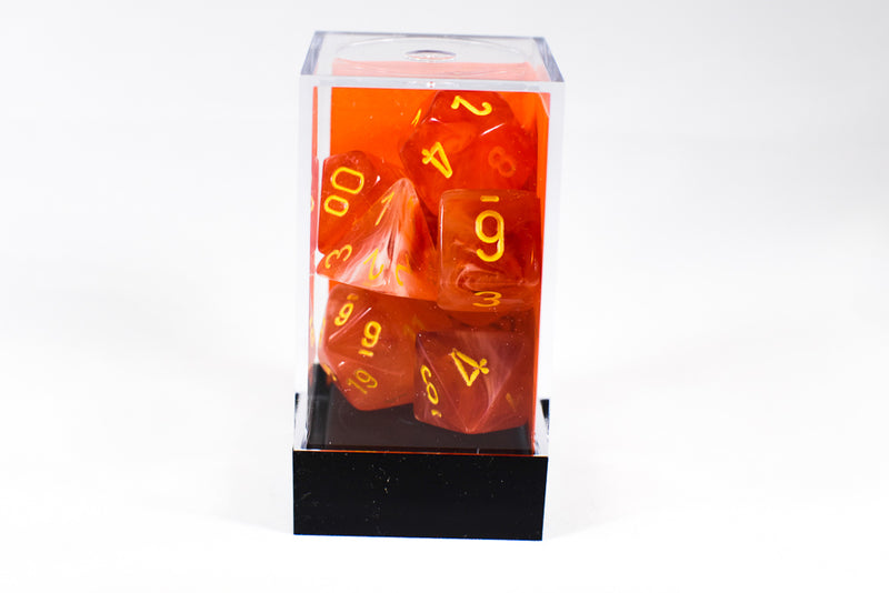 Chessex Polyhedral 7 Die Ghostly Glow Red w/ Yellow Numbers Set Of 7 Dice CHX 27523