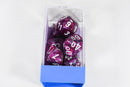 Lustrous Amethyst/White 7-Die Set Lab Dice