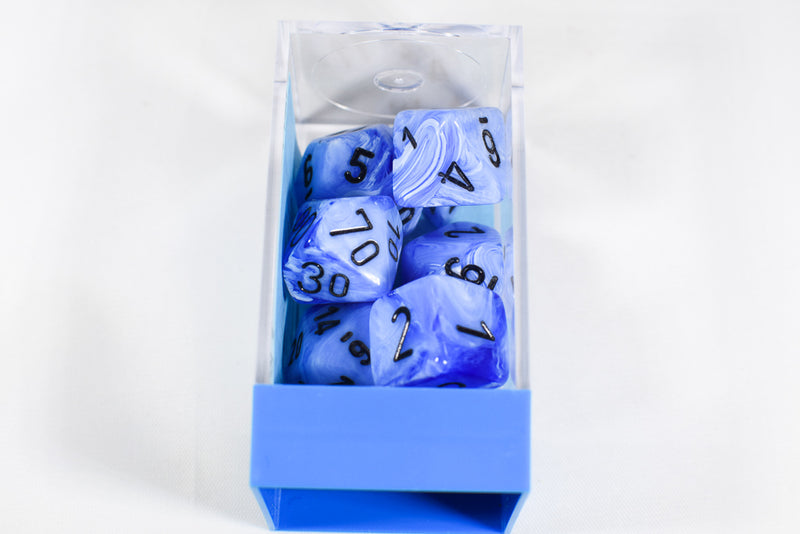 Vortex Snow Blue/Black 7-Die Set Lab Dice