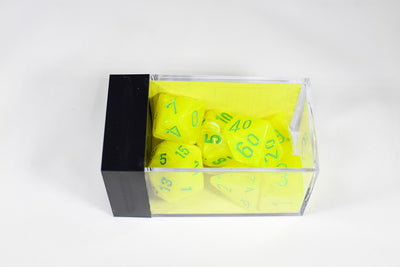 Chessex Polyhedral 7 Die Vortex Electric Yellow w/ Green Numbers Set Of 7 Dice CHX 27422
