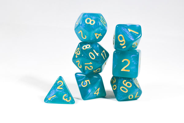 Turquoise Blue Moonstone Dice Set
