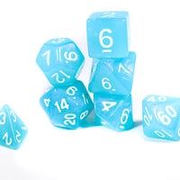 Peacock Blue Moonstone Dice Set