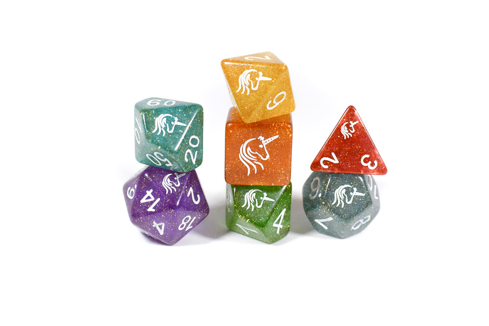 Rainbow Unicorn Poly Dice Set Purple (7) Translucent New RPG DnD Red Blue Green