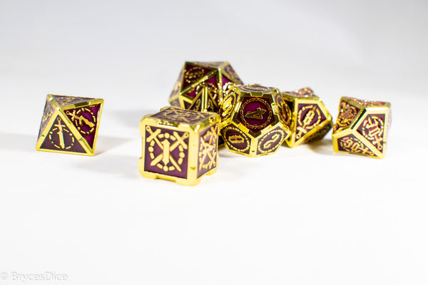 Gold (Deep Maroon Inlay) Sword Strengthened Metal 7-Dice Set