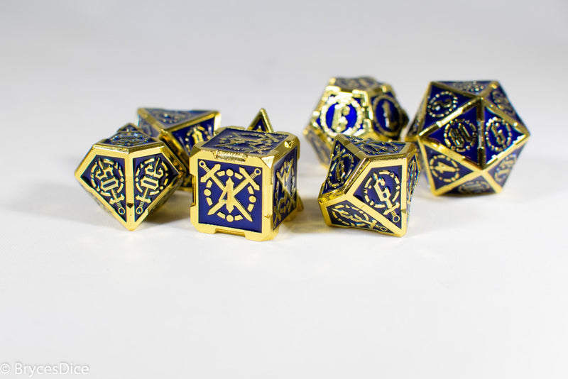 Gold (Navy Blue Inlay) Sword Strengthened Metal 7-Dice Set