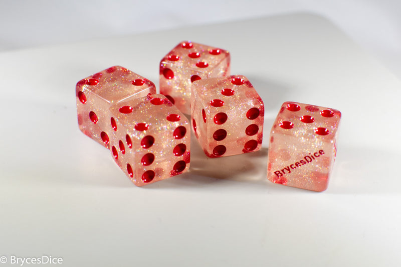 BrycesDice 16mm Glitter d6 (Red) Square Edge [per die]