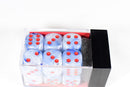 Chessex Vortex Ice Blue w/ Red Numbers Set Of d6 Dice Block CHX T1666