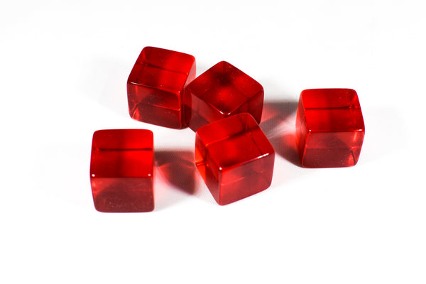 Blank Translucent Red Dice / Counting Cubes 16mm D6 Square RPG Gaming Dice DIY