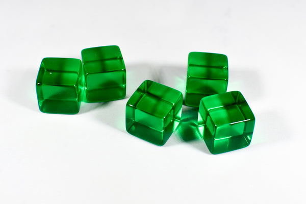 Blank Translucent Green Dice / Counting Cubes 16mm D6 Square RPG Gaming Dice DIY