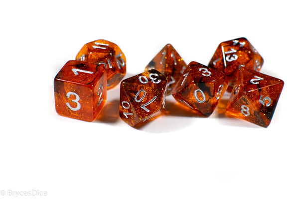 Orange w/ Black Swirl and Silver Ink 7-Dice Set DND RPG