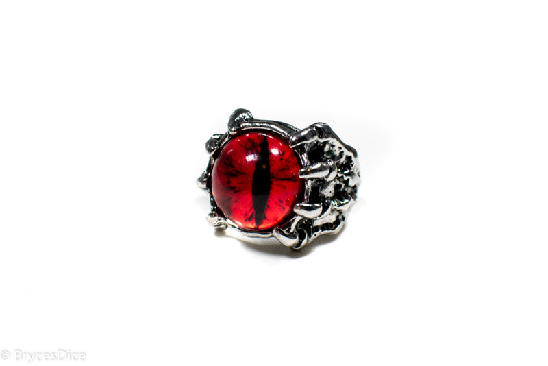 Dragon Eye Ring Silver Metal for Cosplay Game Night Dungeons and Dragons  (purple/blue/red/yellow)