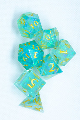 Blue with Glitter Miniature Poly Dice Set Small (7) RPG DnD Mini