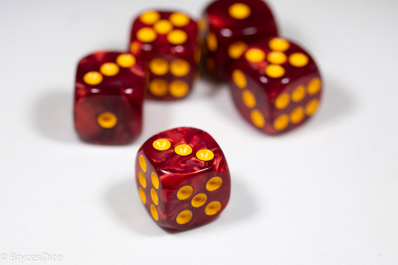 Pearl/Swirl Pipped d6 Dice Orange/Pink/Maroon/Electric Yellow/Brown/Blue/Green/Cranberry 16mm (SOLD BY PIECE)