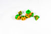 Vibrant Orange & Green Miniature Poly Dice Set Small (7) RPG DnD Mini