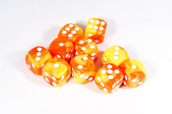Orange and Yellow 16mm D6 Pipped Dice