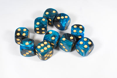 Blue and Black 16mm D6 Pipped Dice