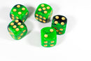 Green and Black 16mm D6 Pipped Dice