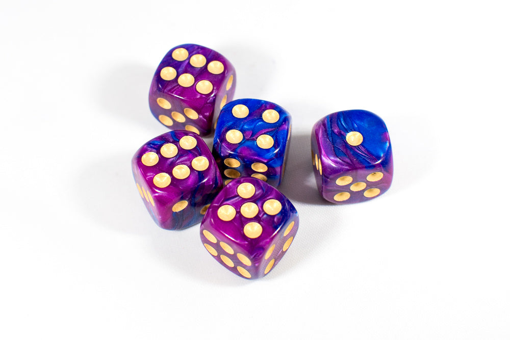 Purple and Blue 16mm D6 Pipped Dice
