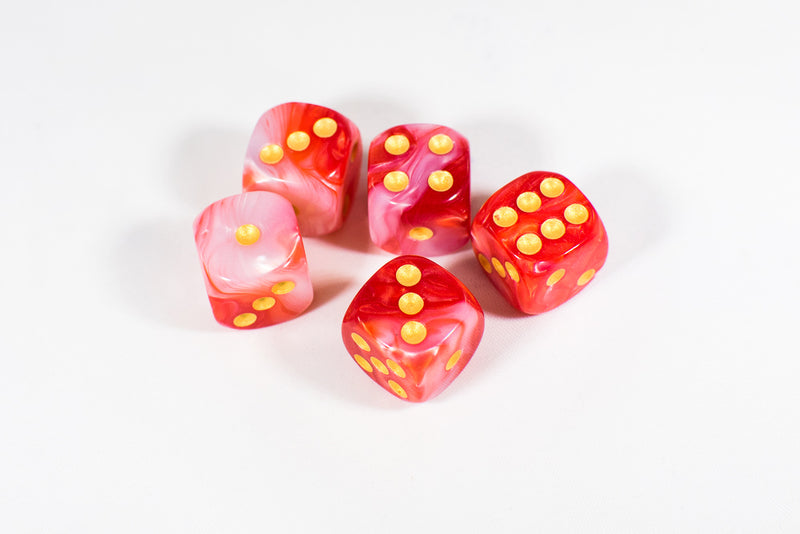 Red and White 16mm D6 Pipped Dice