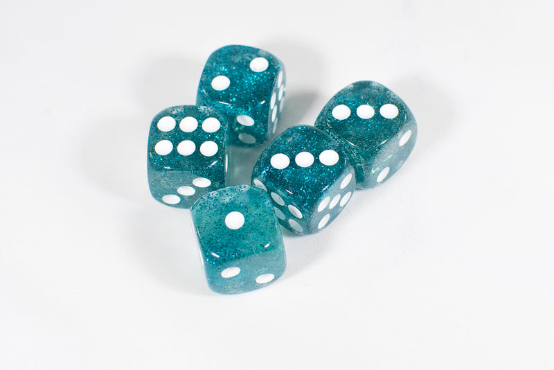 Blue with Glitter D6 16mm Pipped Dice (sold by the piece)