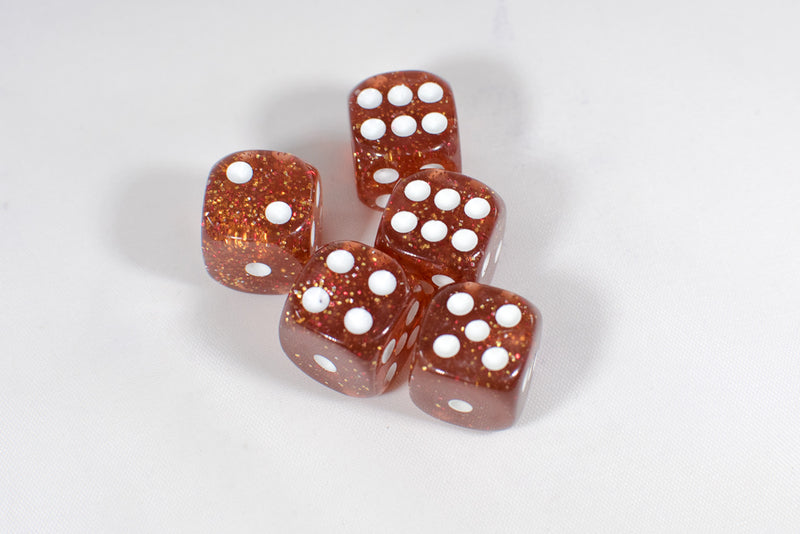 Amber/ Red with Glitter D6 16mm Pipped Dice (sold by the piece)