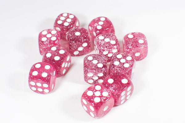 Pink with Glitter D6 16mm Pipped Dice (sold by the piece)