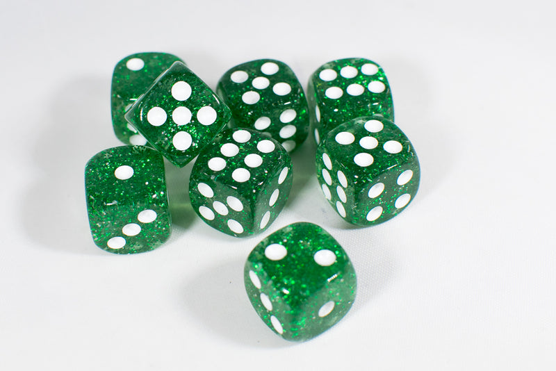 Green with Glitter D6 16mm Pipped Dice (sold by the piece)