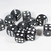 Black with Glitter D6 16mm Pipped Dice (sold by the piece)