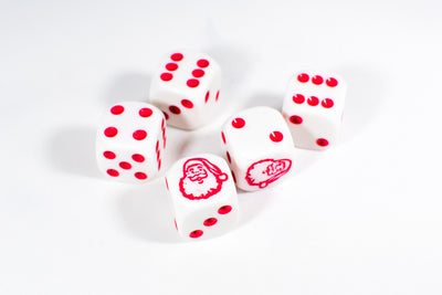 New Set of Six Sided D6 16mm Santa dice Die White with Red Pips RPG Christmas