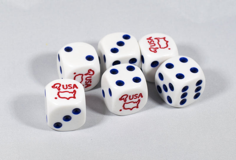 Custom USA Dice with Red White and Blue Theme Patriotic