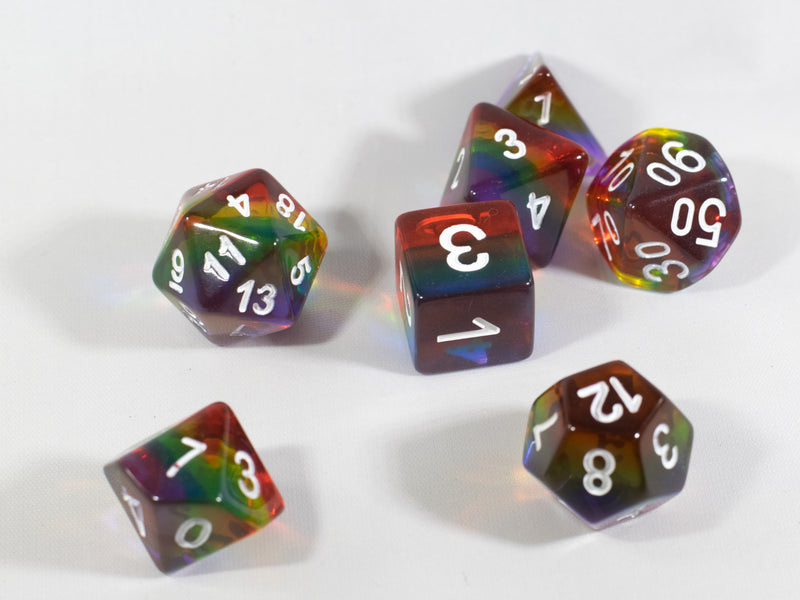 Translucent Rainbow Aurora Poly Dice Set Red Yellow Green Blue (7) New RPG DnD