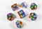 Translucent rainbow dice. Red, orange, yellow, green, blue, and purple color. Beautiful color with clear and easy to read numbers. Sold by the great BrycesDice and manufactured by the esteemed HDdice corperation.