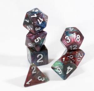 Red/Green/Blue Marbleized Poly Dice Set (7) Green Acrylic Silver Numbers HDdice