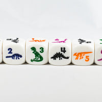 White Dice with Dinosaurs Set 6 Sided Bunco RPG D6 16mm Roll Kids School