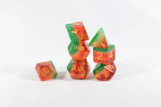 Watermelon Semi-Translucent Poly Dice Set (7) Red Green White Acrylic Gold