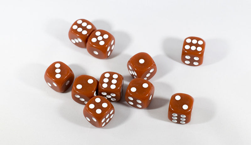 Brown Opaque Dice Set 16mm 6-Sided RPG Magic D&D Unique with White Pips Rolls