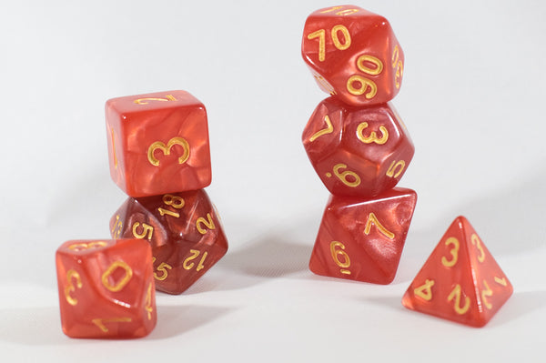 Shimmering Red Swirl Poly Dice Set (7) Acrylic Gold Numbers HDdice