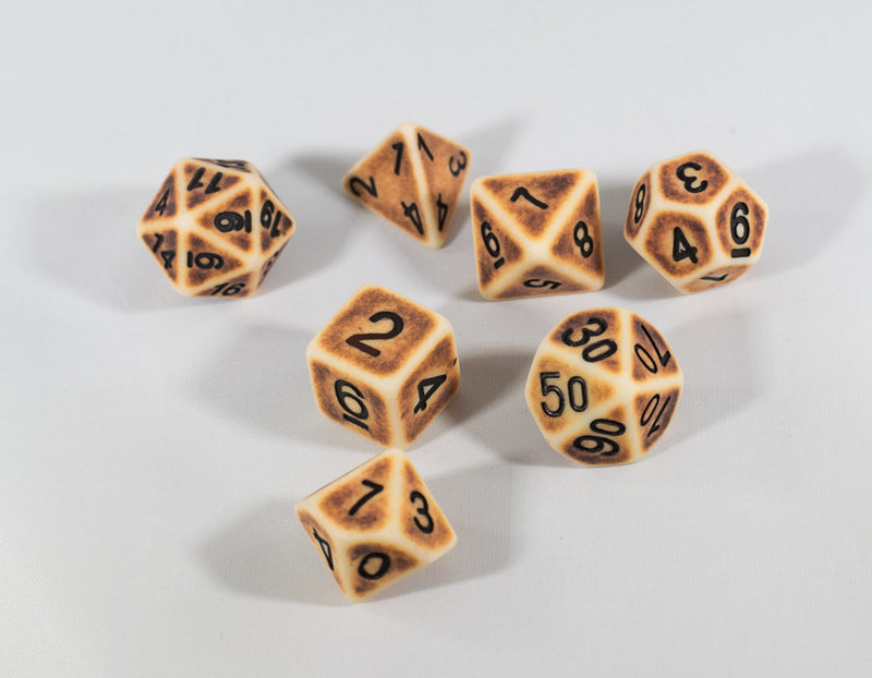 Ancient Tan with Faux Brown Wearing Poly Dice Set (7) Tan Acrylic Black Numbers HDdice