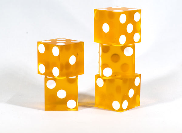 Orange Saffron Casino Dice d6 19mm Razor Edge No Serial Numbers or Names Clean
