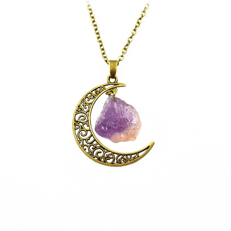 Amethyst Gold Metal Crescent Moon Necklace Pendant