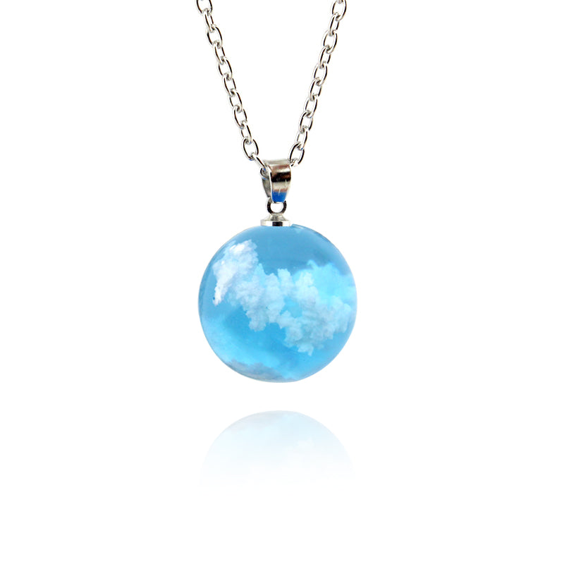 Cloudy Sky Blue Resin Sphere Necklace Pendant White Clouds