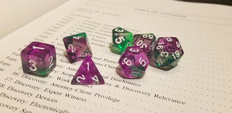 Violet Evergreen Translucent Purple/ Green Poly Dice Set with White (7) RPG DnD HdDice